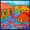 Homage to Karl Schmidt-Rottluff - Gramberg Houses - part 3. 12x12, acrylic on canvas, dec 18, 2017.