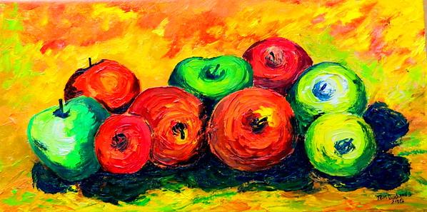 Homage to Paul Cezanne - Nine  Apples. 8x16, oil, july 22, 2016.