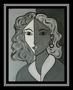 Homage to Matisse-Portrait of Lydia #5, 11x14, acrylic & ink on canvas panel, july 8, 2017.