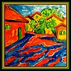 Homage to Karl Schmidt-Rottluff - Gramberg Houses, 12x12, acrylic on canvas, dec 15, 2017.