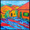 Homage to Karl Schmidt-Rottluff - Gramberg Houses - part 2. 12x12, acrylic on canvas, dec 18, 2017.
