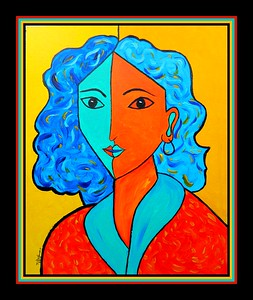 Homage to Matisse-Portrait of Lydia #4, 11x14, acrylic on canvas panel, july 3, 2017.