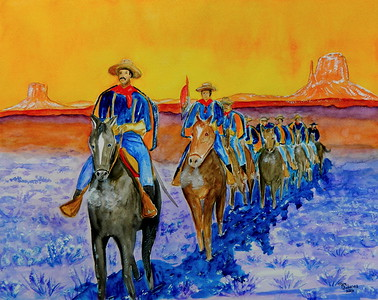 Homage to Frederic Remington - Winter Patrol, 16x20, watercolor & gouache, july 16, 2016.