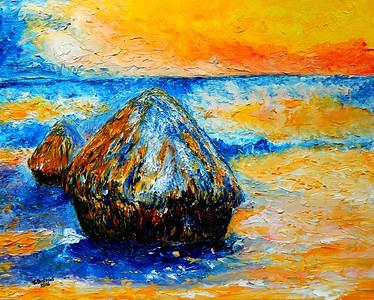 Homage to Claude Monet - Wheatstacks in Winter, 16x20, oil, june 6, 2016.