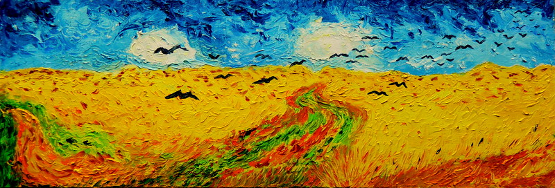 Homage to Vincent Van Gogh - Wheatfield With Crows.21.5x7.5, oil on wood panel, july 26, 2016.