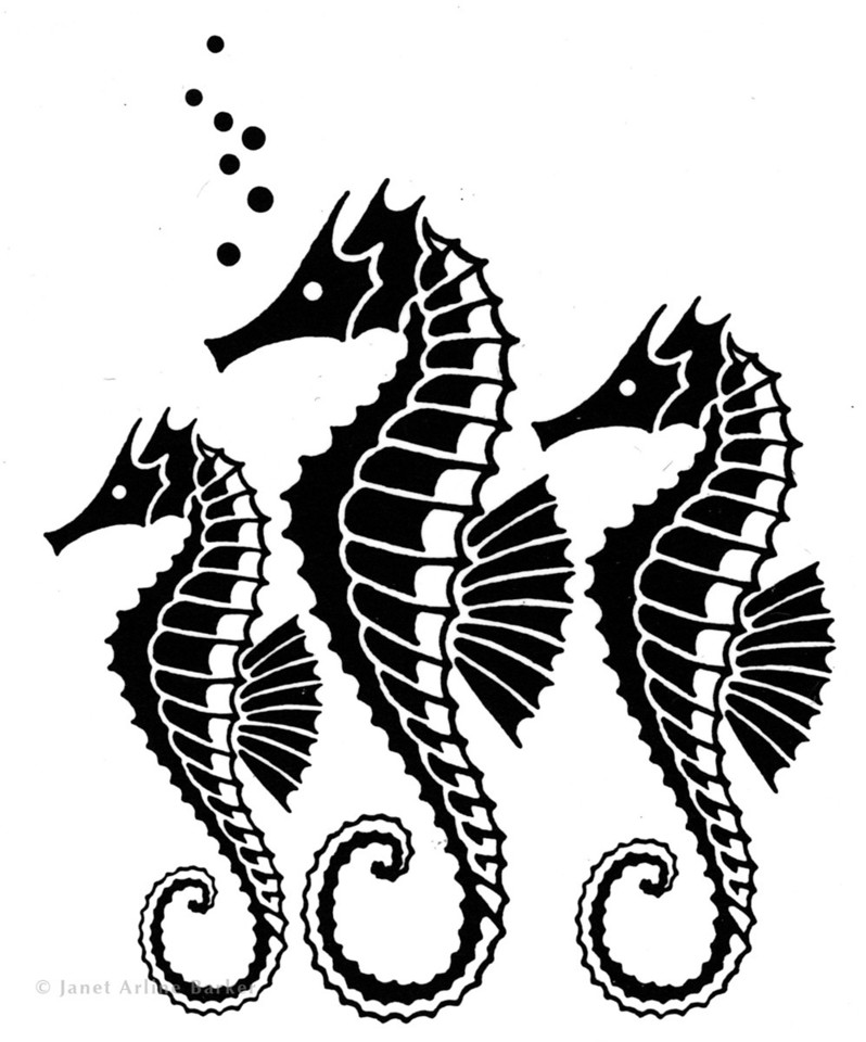 Sea Horses: Ink illustration for American-Indonesian Oil Company.