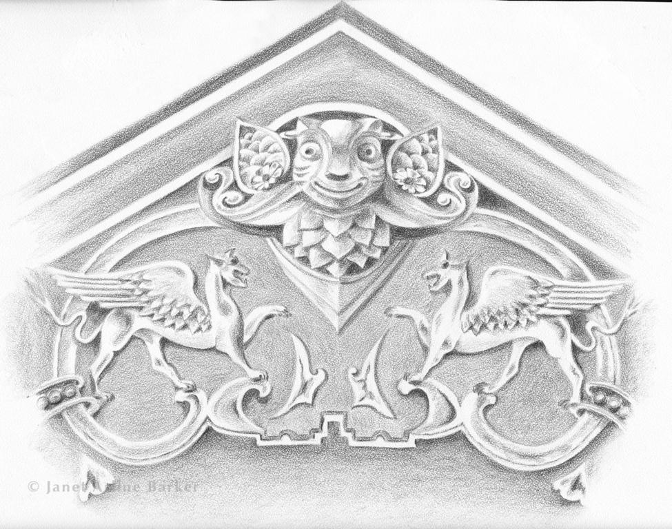 Griffins & Gargoyles: Graphite illustration for high school mascots.