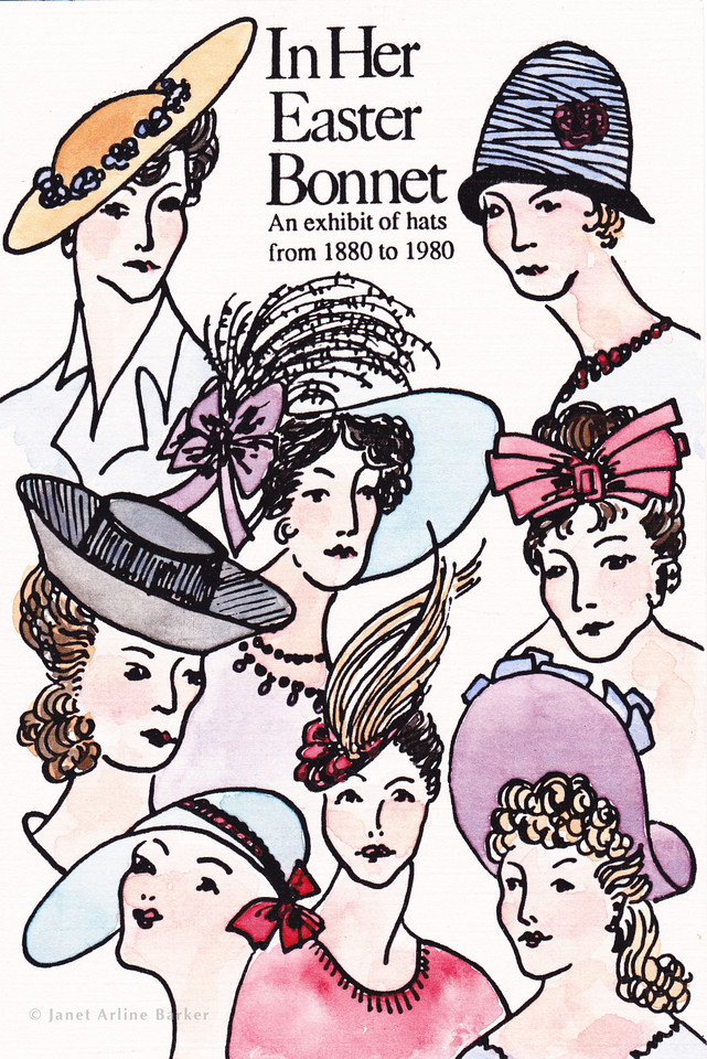 Hats from 1880 to 1980: Water color and ink illustration for promotion of museum hat show.