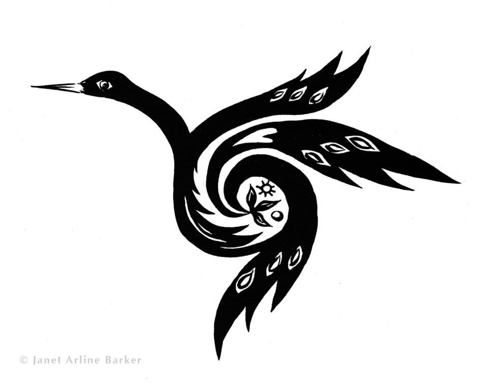 Stylized Crane: Ink illustration for agency that represents Native American artists.