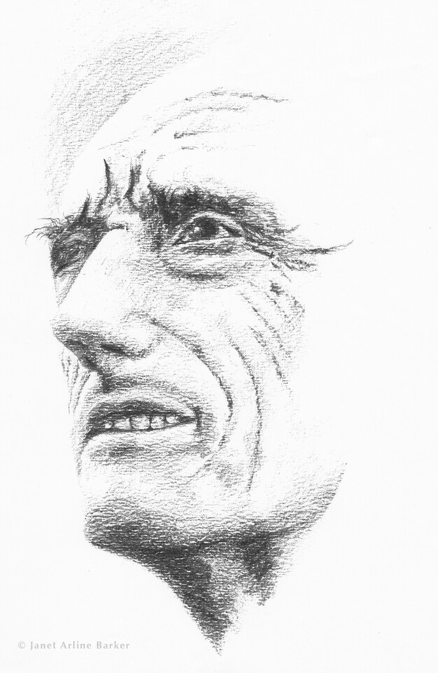 Jacques Cousteau: Graphite illustration for an event poster.