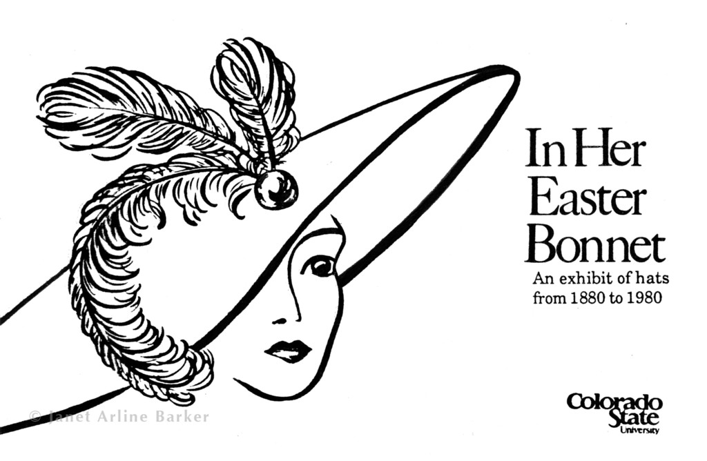 Hat Exhibition: Brush illustration for a publicity postcard.