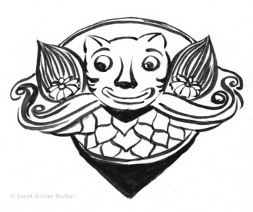 Happy Gargoyle: Brush illustration for a high school mascot. Used on school t-shirts and other school merchandise.