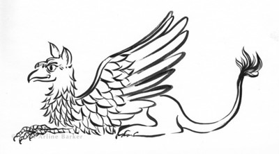 Griffin: Brush illustration for a high school mascot. Used on school t-shirts and other school merchandise.