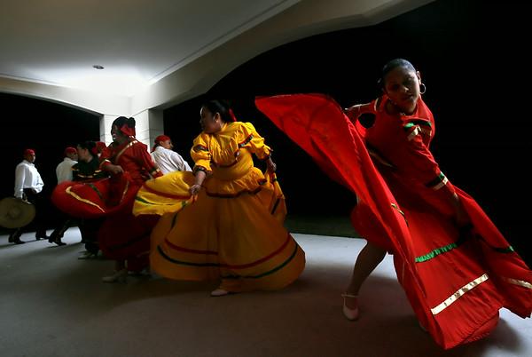Espiritu Hispano-Americano folk lore dance group from Kinston, NC, dancing in the style of the Jaliseo provence of Mexico.  (Jenni Farrow)