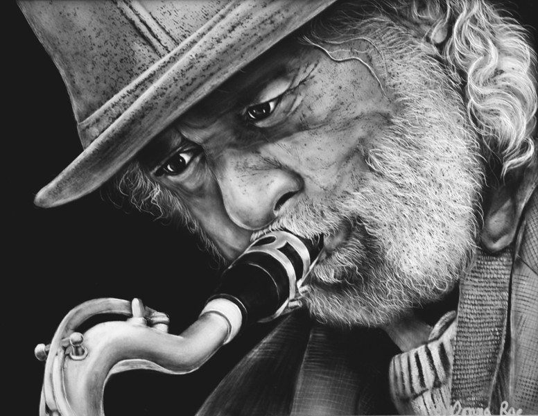 "The Jazz Man  11 x 14 India Ink on Claybord<br /> <br /> Special Thanks to Chris Richey for use of photo referrence at <a href=""http://www.flickr.com/photos/chrisrichey/2906511837/"">http://www.flickr.com/photos/chrisrichey/2906511837/</a>"