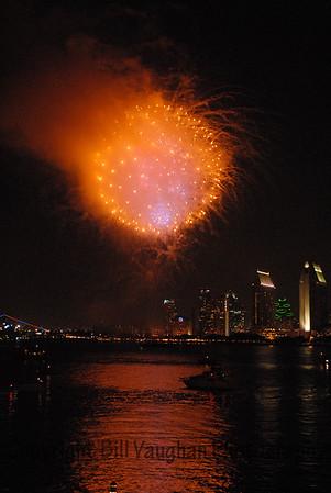 Fireworks in San Diego Bay seen from Coronado Island