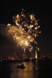 Fireworks in San Diego Bay seen from Coronado Island
