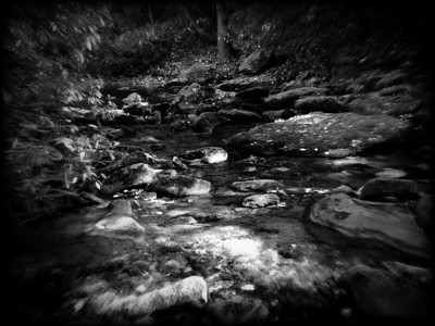 Creek at Stone Mtn. Traphill, NC Photo with blur and black to edge