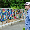 Harold Allison checks out the new Building Blocks tiles on Main Street on Friday afternoon. SENTINEL & ENTERPRISE / Ashley Green