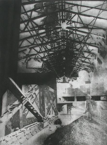 """""""Under-Past"""", 18"""" x 24"""" etching, 1989"""