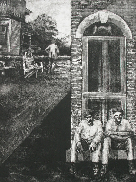 """""""Idle Times"""" 18 x 24"""" etching, approximately 1994"""