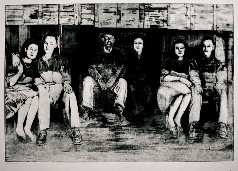 "Porch Gathering, intaglio, approximately 20"" x 32"", 1991"