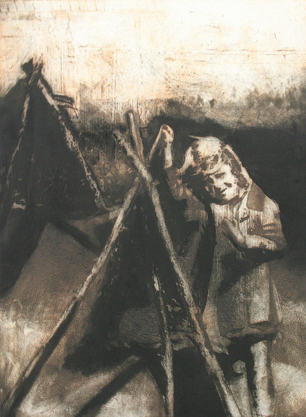 """""""Ideal Street Teepees"""" 18"""" x 24"""" etching, approximately 1990"""