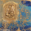 Kuan Yin with flowers<br />  Original encaustic with resin figure