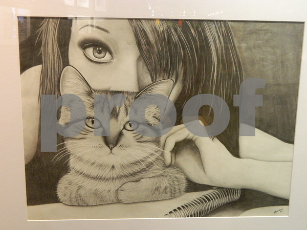 Another graphite drawing by Madeline Westrum called Squeak and I