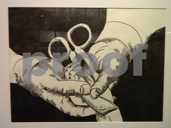 An ink drawing by Jon Houston called Hands Holding Tin Snips