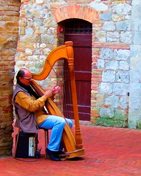 Harpist on the Square.. San Gimignano, Tuscany.