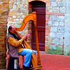 Harpist on the Square.. San Gimignano, Tuscany.