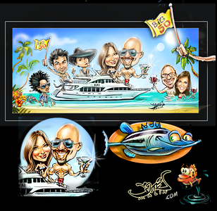 yacht party birthday trip to the virgin islands caricature commission