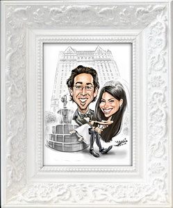 New York Plaza hotel fountain wedding caricature