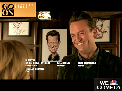 "100 Caricature in episode 19 'Go for the Gold Watch' NBC's 'Go On"" starring Matthew Perry-caricatures by James Malia"