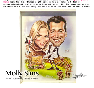 Molly Sims wedding gift caricature from Fergie and Josh Duhamel by James Malia