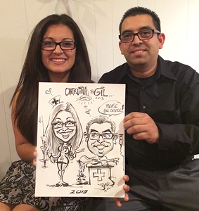 Live couple caricature Dos Pueblos all night graduation party 2013 Santa Barbara by James Malia 2013