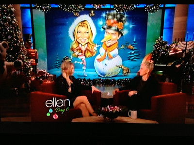 Caricature Holiday card XMAS of sexy Fergie Josh Duhamel Ellen Degeneres  12 days of christmas show December 12 10 2012 animated fun