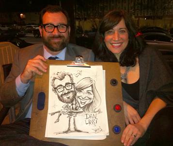 Fun live sketch portrait caricature at party
