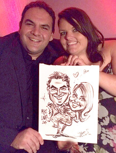 live party wedding caricature sketch by james maia malibu wedding
