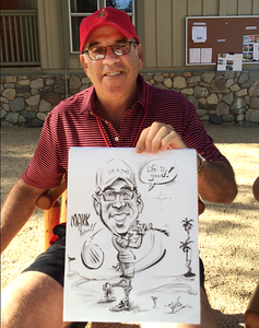 Marks caricature at Dans 60th birthday at Camp Max Straus  -web