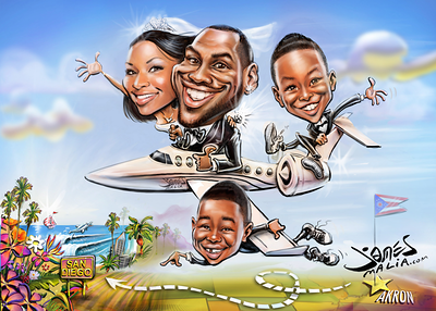 Lebron James' Save the date wedding caricature