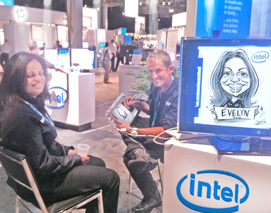 Drawing digital Caricatures at multiple Trade shows for Intel at the HP Convention, Frankfurt, Germany, 2012 just after the Vegas Convention - James Malia