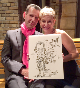 Live Caricature at CBS Radford Studio Center Bat Mitzvah on New York Street 2015