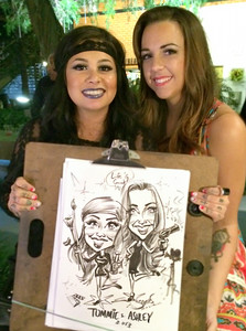 makeup artists at the La Femme International Film Festival - caricature by james malia