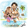 Sofia Vergara and Joe Manganiello wedding favors caricature as part of their welcoming bag to their guests at the Breakers Palm Beach resort