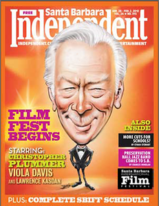 Christopher Plummer Santa Barbara Film Festival caricature 2012 Independent cover
