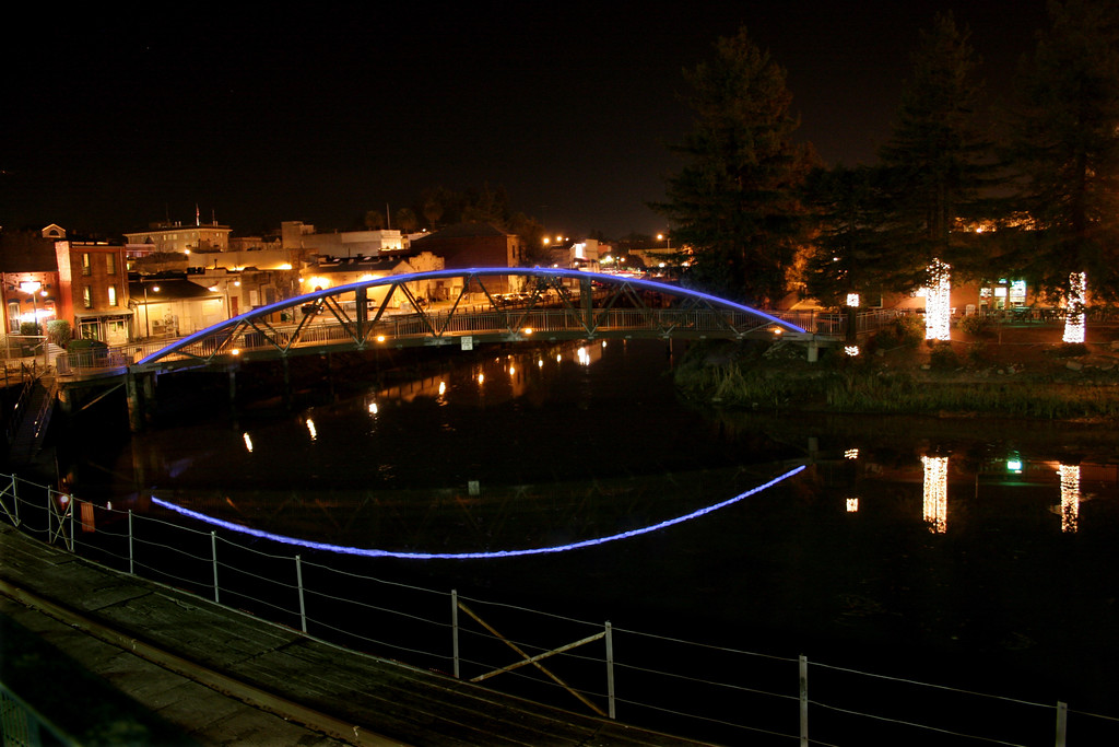 Blue Arc Footbridge in Petaluma