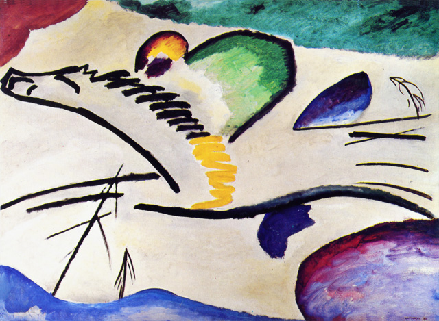 "Lyrically - This painting is actually an abstraction of a galloping horse, drawn with a few lines to indicae energy and speed. with trees. Kandinsky originally entitled it ""Jockey."" It has the hieroglyphic sparseness of Chinese calligraphy."