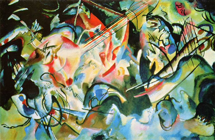 Composition 6 (Deluge II) - Inspired by his previous painting The Deluge, Kandinsky combines motifs of water, an arc, animals and more. Is this  the Great Flood?